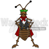 Clipart of a Cool Bug Wearing a Vest and Sunglasses - Royalty Free Illustration © Dennis Cox #1224441