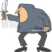 Clipart of a White Man in a Hoodie, Holding a Knife - Royalty Free Vector Illustration © djart #1224443
