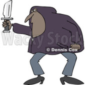 Clipart of a Black Man in a Hoodie, Holding a Knife - Royalty Free Vector Illustration © djart #1224444