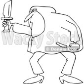 Clipart of an Outlined Man in a Hoodie, Holding a Knife - Royalty Free Vector Illustration © djart #1224445