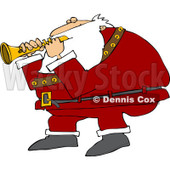 Clipart of Santa Playing a Flute - Royalty Free Vector Illustration © djart #1224448