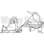 Clipart of an Outlined Santa Pulling Mrs Clause on a Sled - Royalty Free Vector Illustration © djart #1224718