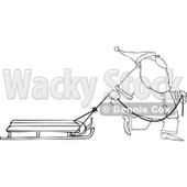 Clipart of an Outlined Santa Pulling a Sled - Royalty Free Vector Illustration © djart #1224719