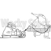 Clipart of an Outlined Santa Pulling Kids on a Sled - Royalty Free Vector Illustration © djart #1224720