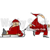 Clipart of Santa Pulling Mrs Clause on a Sled - Royalty Free Vector Illustration © djart #1224723