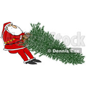 Clipart of Santa Tugging on a Fresh Cut Christmas Tree - Royalty Free Illustration © djart #1224724