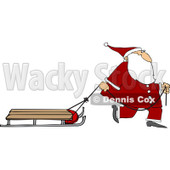 Clipart of Santa Pulling a Sled - Royalty Free Vector Illustration © djart #1224725