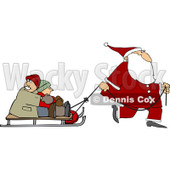 Clipart of Santa Pulling Kids on a Sled - Royalty Free Vector Illustration © djart #1224726