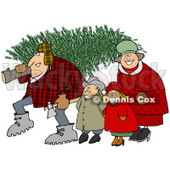 Clipart of a Happy Family with a Fresh Cut Christmas Tree - Royalty Free Illustration © djart #1224727