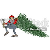 Clipart of a Lumberjack Man Pulling a Fresh Cut Christmas Tree - Royalty Free Illustration © djart #1224729
