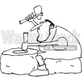 Clipart of an Outlined Genius Caveman Carving a Stone Wheel - Royalty Free Vector Illustration © djart #1225222