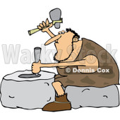 Clipart of a Genius Caveman Carving a Stone Wheel - Royalty Free Vector Illustration © Dennis Cox #1225227