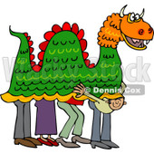 Clipart of a Man Peeking out from Under a Chinese Dragon - Royalty Free Vector Illustration © Dennis Cox #1225228