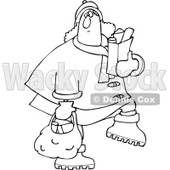Clipart of an Outlined Chubby Woman Carrying Grocery Bags - Royalty Free Vector Illustration © djart #1225949