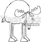 Clipart of an Outlined Moose with Long Legs - Royalty Free Vector Illustration © djart #1225953