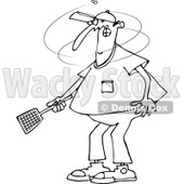 Clipart of an Outlined Man Trying to Kill a Fly with a Swatter - Royalty Free Vector Illustration © djart #1225955