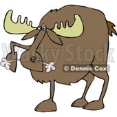 Clipart of a Snorting Angry Moose - Royalty Free Vector Illustration © djart #1225956