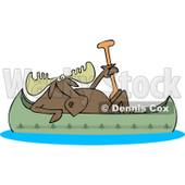 Clipart of a Moose in a Canoe - Royalty Free Vector Illustration © djart #1225957
