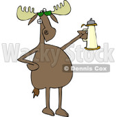 Clipart of a Moose Wearing Sunglasses and Holding a Beer Stein - Royalty Free Vector Illustration © djart #1225958