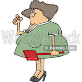 Clipart of an Annoyed Caucasian Woman Holding a Fly Swatter - Royalty Free Vector Illustration © djart #1225962