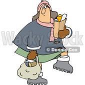 Clipart of a Chubby Caucasian Woman Carrying Grocery Bags - Royalty Free Vector Illustration © djart #1225964