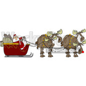 Clipart of a Team of Christmas Moose Pulling Santa in a Sleigh - Royalty Free Vector Illustration © djart #1225965