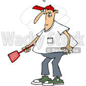 Clipart of a Caucasian Man Trying to Kill a Fly with a Swatter - Royalty Free Vector Illustration © djart #1225967