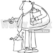 Clipart of an Outlined Man with Groceries, Unlocking a Door - Royalty Free Vector Illustration © djart #1226218