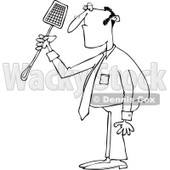 Clipart of an Outlined Businessman Holding a Noose Fly Swatter - Royalty Free Vector Illustration © Dennis Cox #1226220