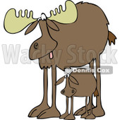 Clipart of a Mother Moose and Calf - Royalty Free Vector Illustration © djart #1226222