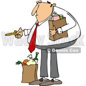 Clipart of a Caucasian Man with Groceries, Unlocking a Door - Royalty Free Vector Illustration © djart #1226223