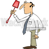 Clipart of a Caucasian Businessman Holding a Noose Fly Swatter - Royalty Free Vector Illustration © djart #1226225
