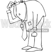 Clipart of an Outlined Businessman Bending over to Look at Something - Royalty Free Vector Illustration © djart #1227113