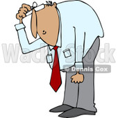 Clipart of a Hispanic Businessman Bending over to Look at Something - Royalty Free Vector Illustration © djart #1227116
