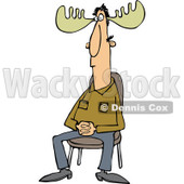 Clipart of a Sitting Man with Moose Antlers - Royalty Free Vector Illustration © djart #1227117