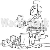 Clipart of an Outlined Man Splitting Wood - Royalty Free Vector Illustration © djart #1227442