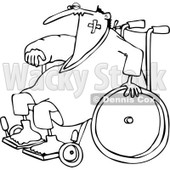 Clipart of an Outlined Injured Accident Prone Man in a Wheelchair - Royalty Free Vector Illustration © djart #1227447