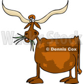 Clipart of a Texas Longhorn Cow Eating Grass - Royalty Free Vector Illustration © djart #1227451