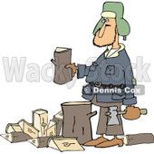 Clipart of a Caucasian Man Splitting Wood - Royalty Free Vector Illustration © djart #1227453