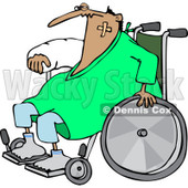 Clipart of an Injured Accident Prone Man in a Wheelchair - Royalty Free Vector Illustration © Dennis Cox #1227455