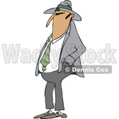 Clipart of a Man Wearing a Fedora Hat - Royalty Free Vector Illustration © djart #1227604