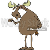 Clipart of a Mad Irate Moose Waving a Fist - Royalty Free Vector Illustration © djart #1227607