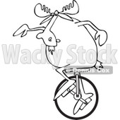 Clipart of an Outlined Moose on a Unicycle - Royalty Free Vector Illustration © djart #1227676
