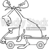 Clipart of an Outlined Moose Riding in a Wagon - Royalty Free Vector Illustration © djart #1227677