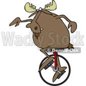 Clipart of a Moose on a Unicycle - Royalty Free Vector Illustration © djart #1227679