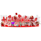 Clipart of Valentines Text with Cupids and People - Royalty Free Illustration © Dennis Cox #1227680