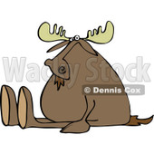 Clipart of a Moose Sitting with His Legs out - Royalty Free Vector Illustration © djart #1227682