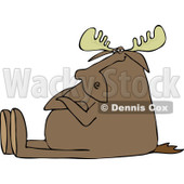 Clipart of a Stubborn Moose Sitting with Folded Arms - Royalty Free Vector Illustration © djart #1229572