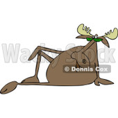 Clipart of a Sophisticated Moose Sitting Back - Royalty Free Vector Illustration © djart #1229573