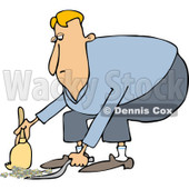 Clipart of a Caucasian Man Using a Dustpan and Hand Broom - Royalty Free Vector Illustration © djart #1229574